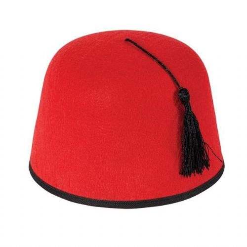 Morroccan Fez Hat - Red/Gold for Egyptian Magician Middle East Fancy Dress